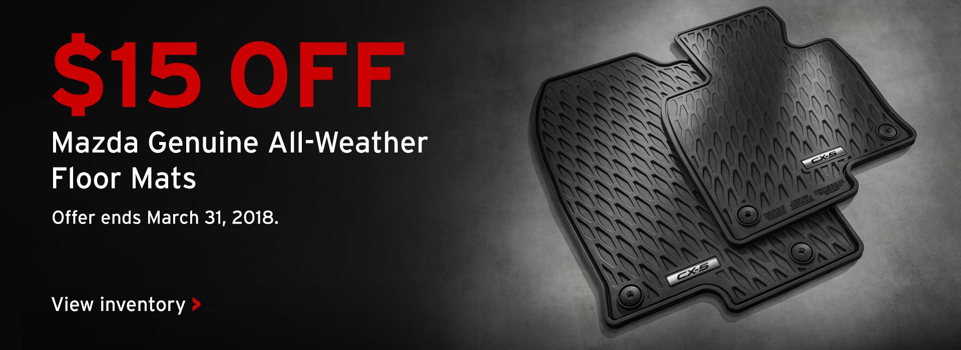 $15 off all weather floor mats